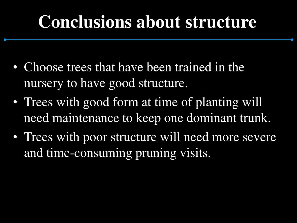 Conclusions about structure