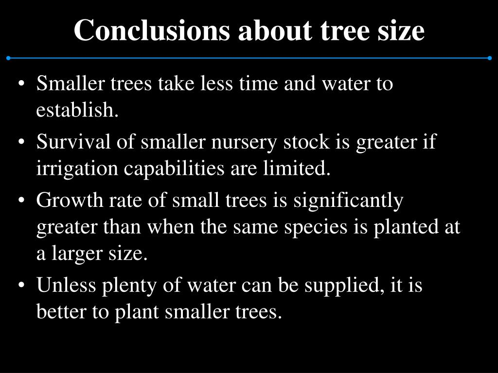 Conclusions about tree size