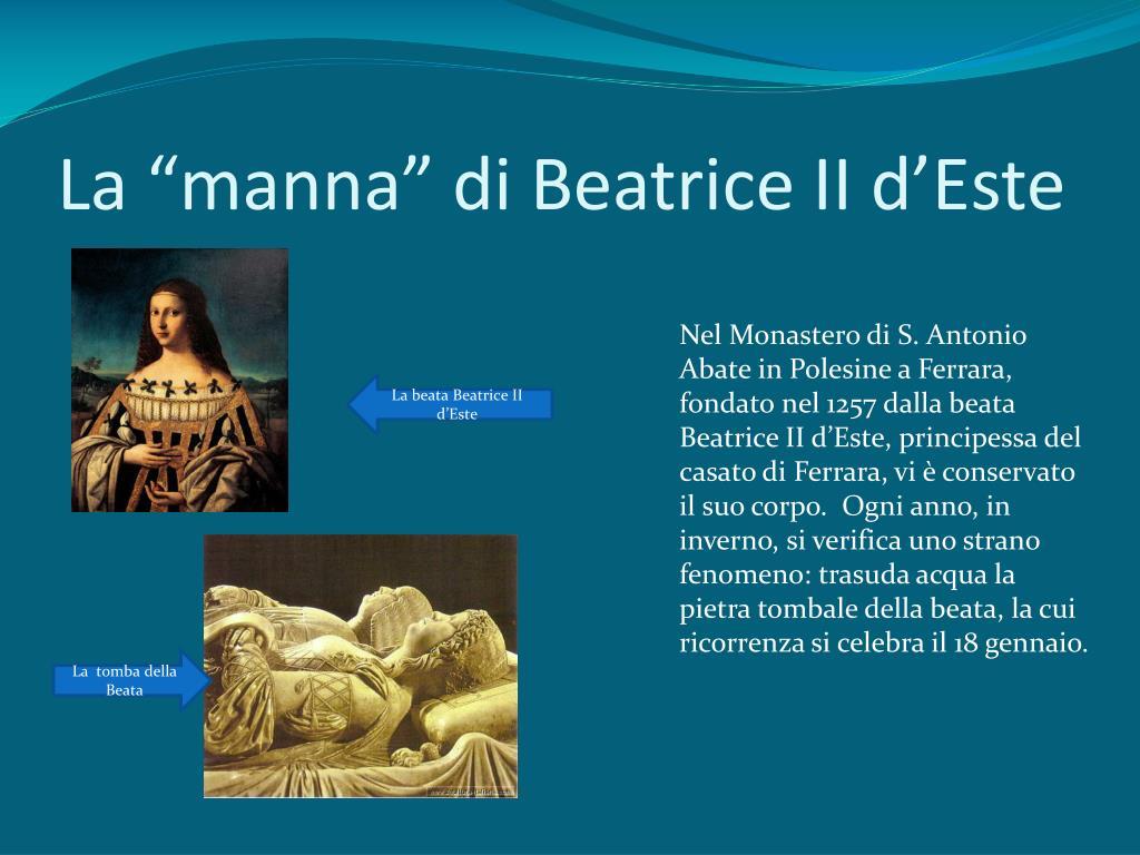 """La """"manna"""" di Beatrice II d'Este"""