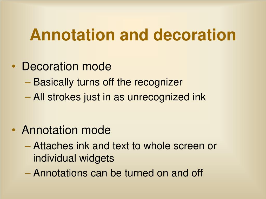 Annotation and decoration