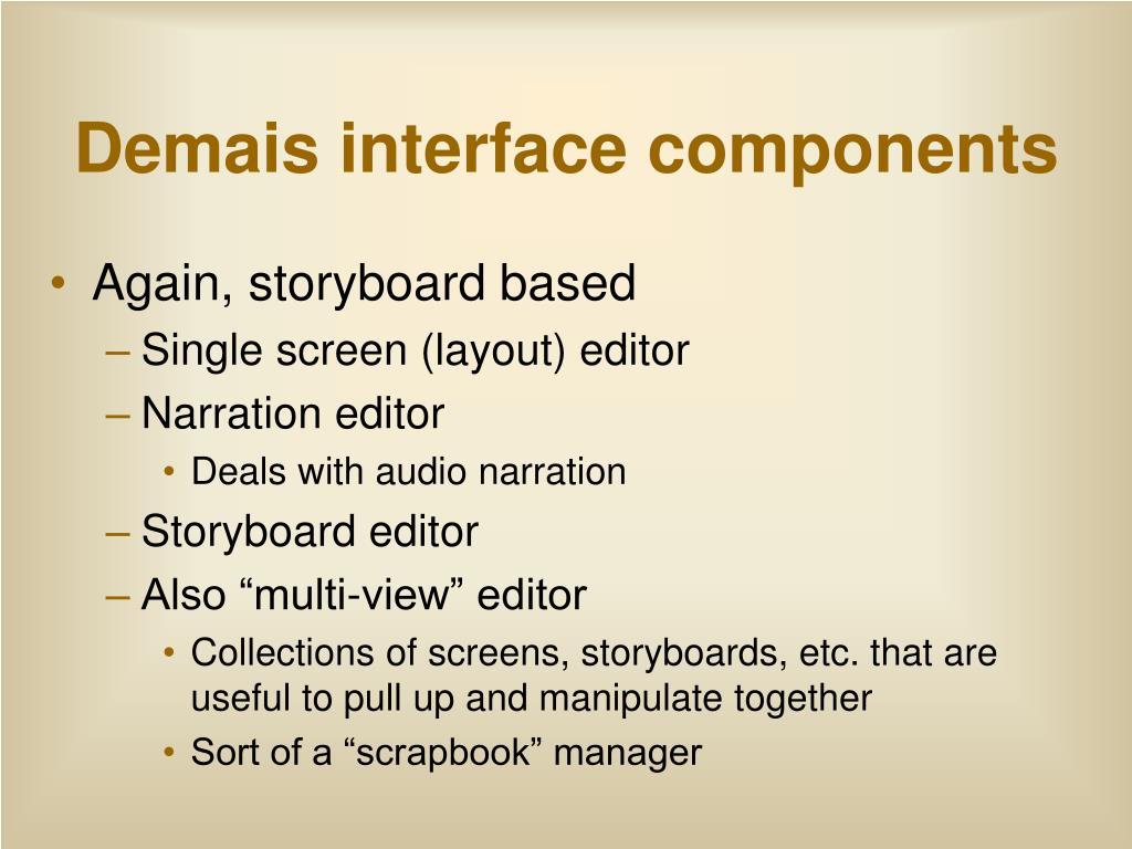 Demais interface components
