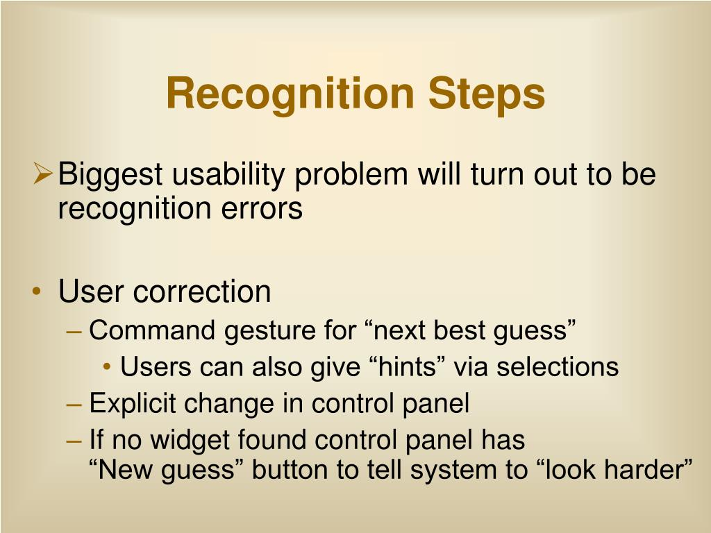 Recognition Steps