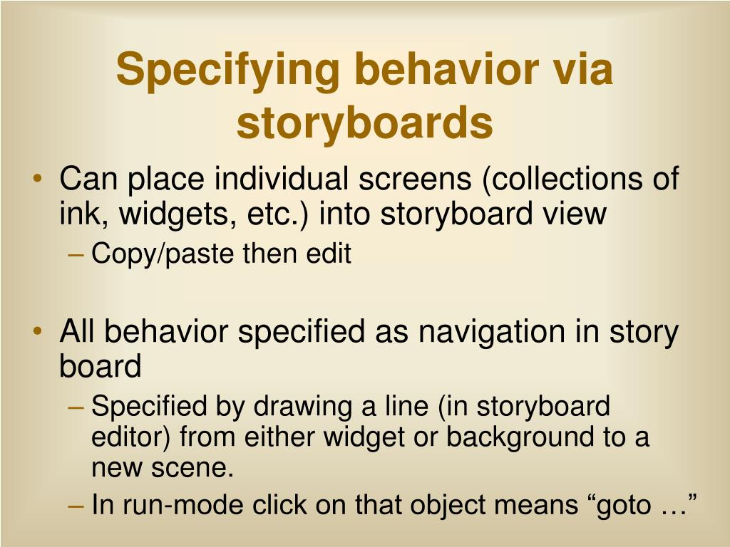 Specifying behavior via storyboards