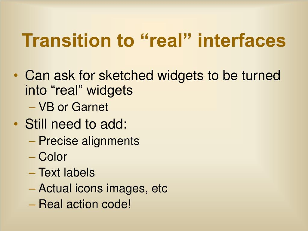 "Transition to ""real"" interfaces"