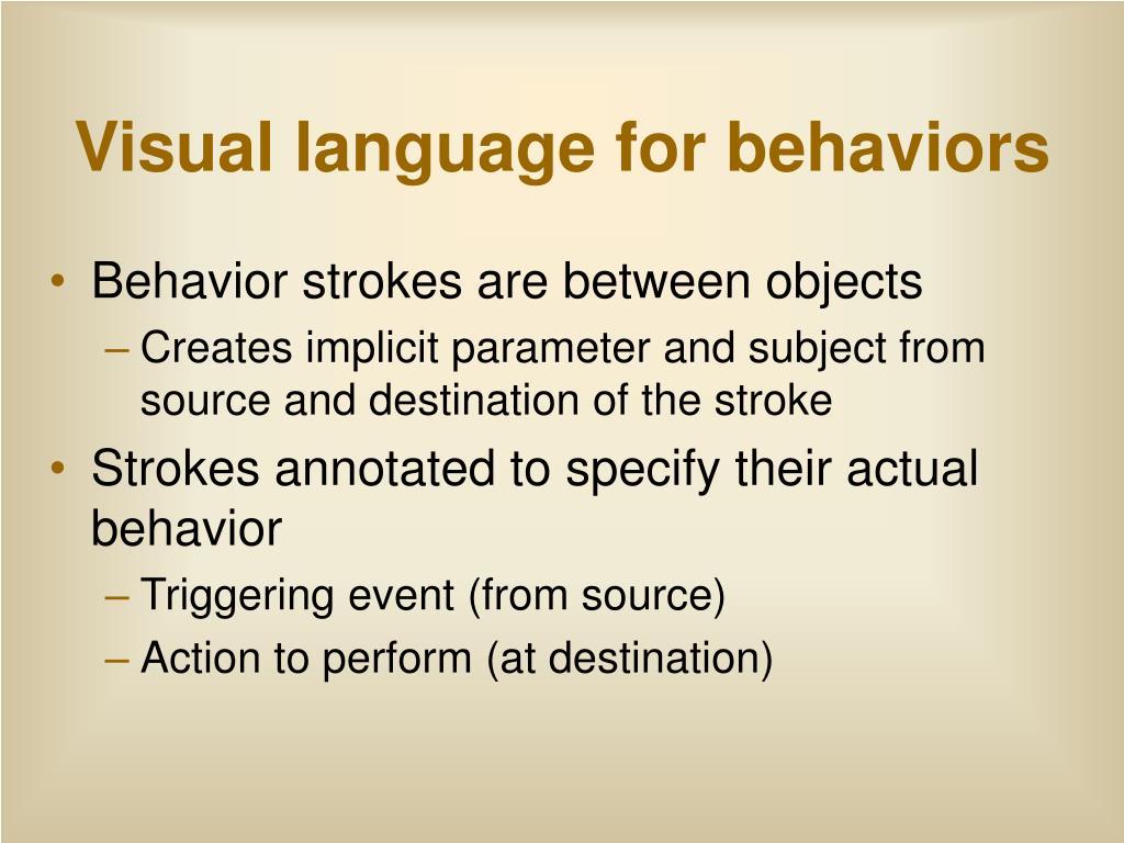 Visual language for behaviors