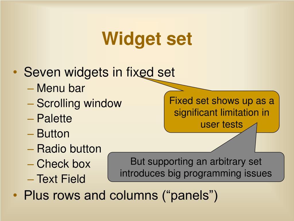 Widget set