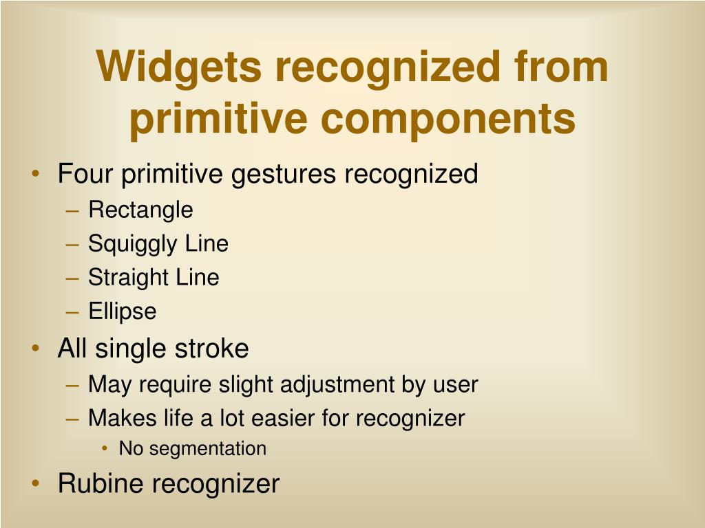 Widgets recognized from primitive components
