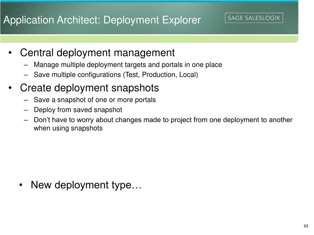 Application Architect: Deployment Explorer