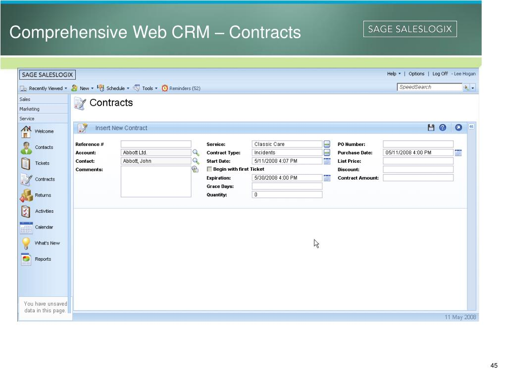 Comprehensive Web CRM – Contracts