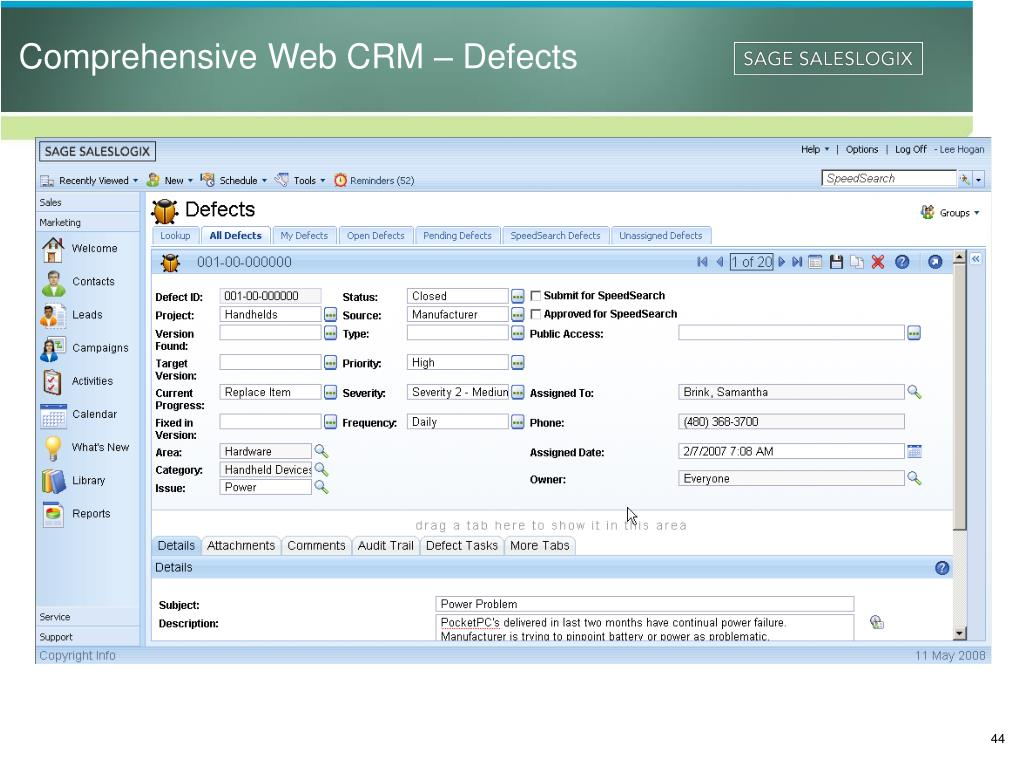 Comprehensive Web CRM – Defects