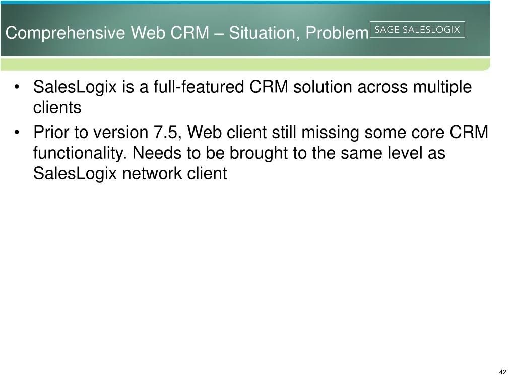 Comprehensive Web CRM – Situation, Problem