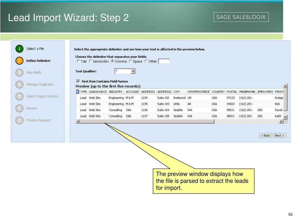 Lead Import Wizard: Step 2