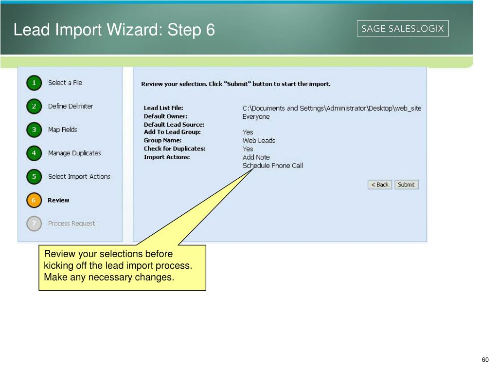 Lead Import Wizard: Step 6