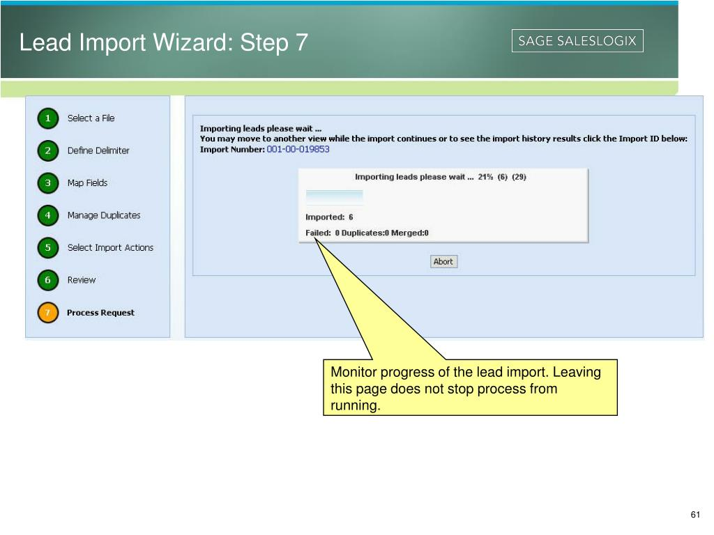Lead Import Wizard: Step 7