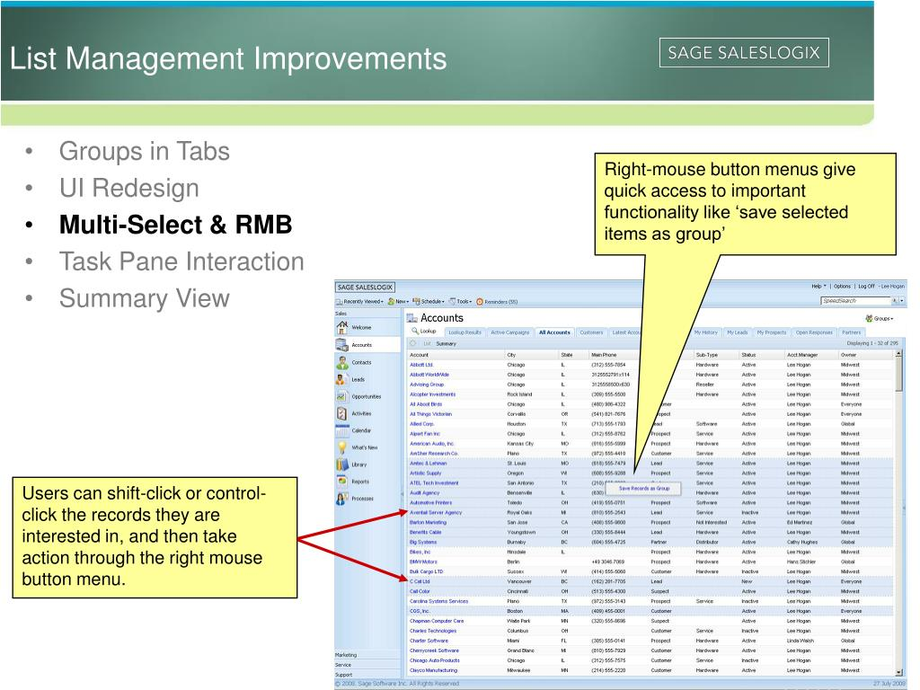List Management Improvements