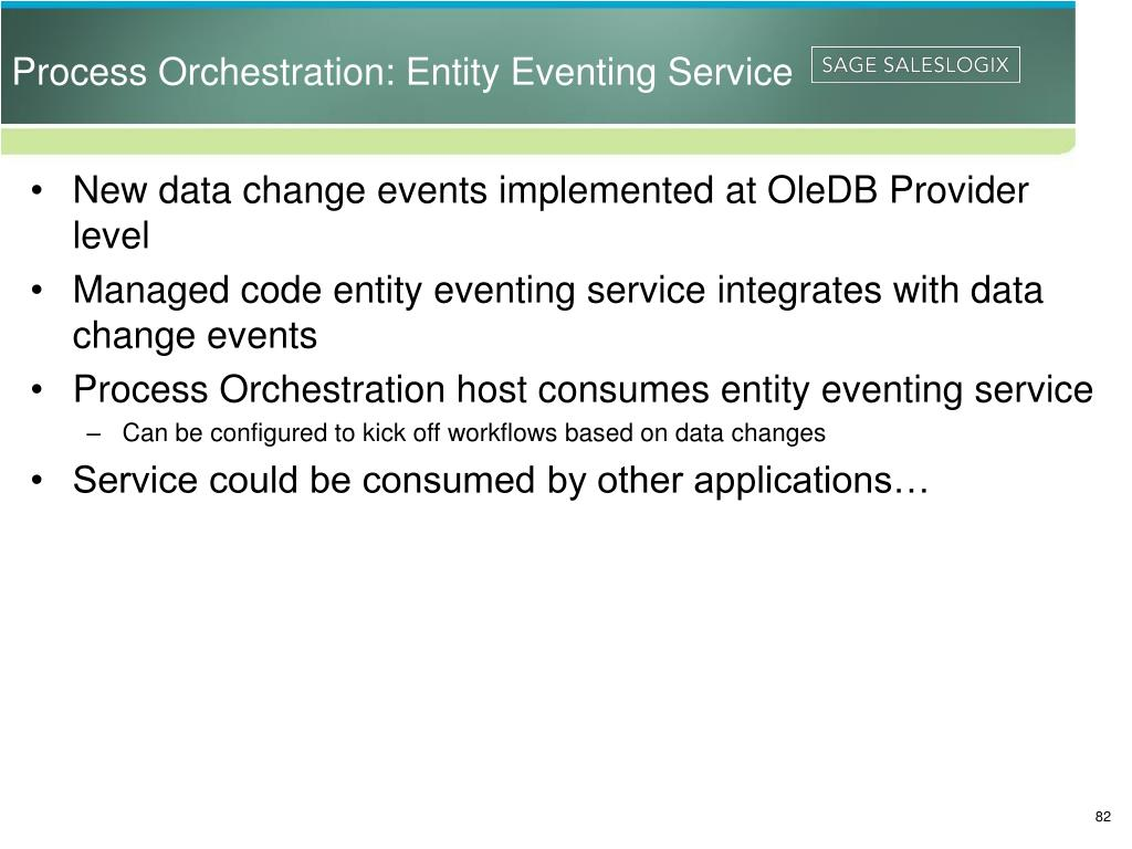 Process Orchestration: Entity Eventing Service