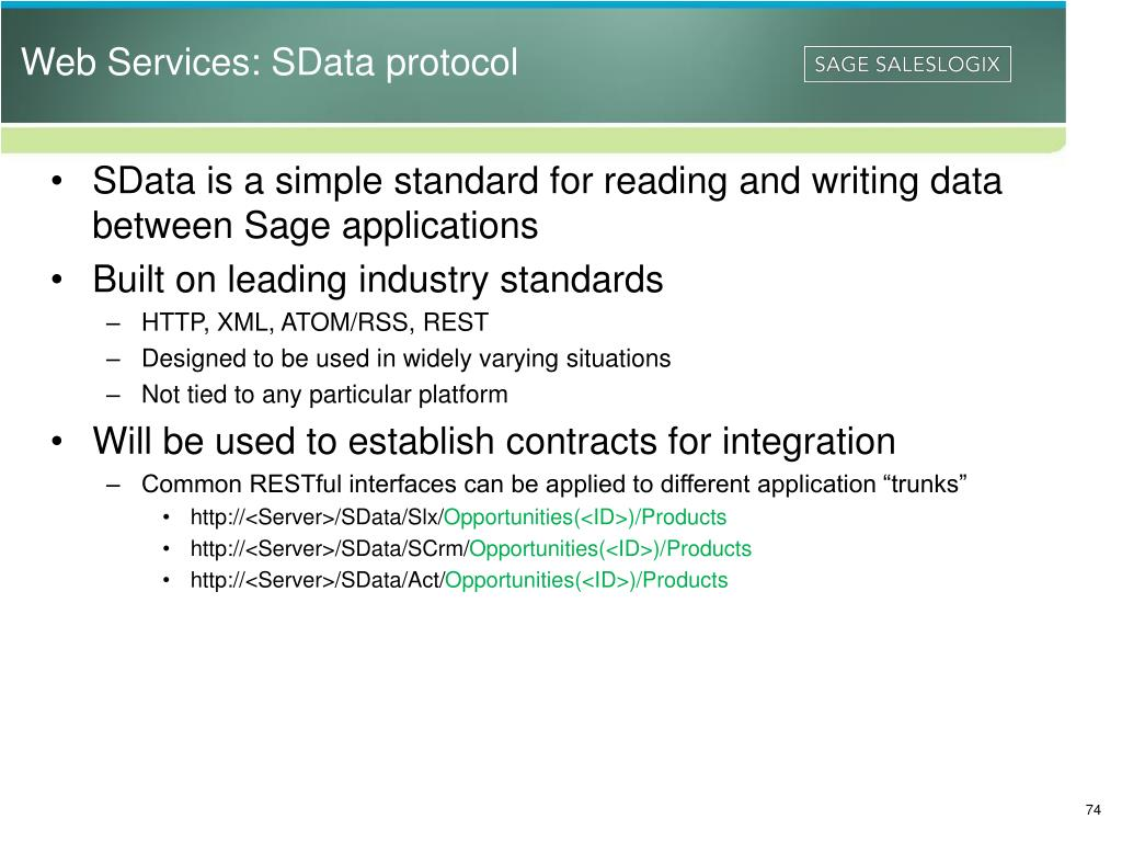 Web Services: SData protocol