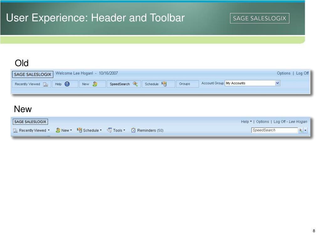 User Experience: Header and Toolbar