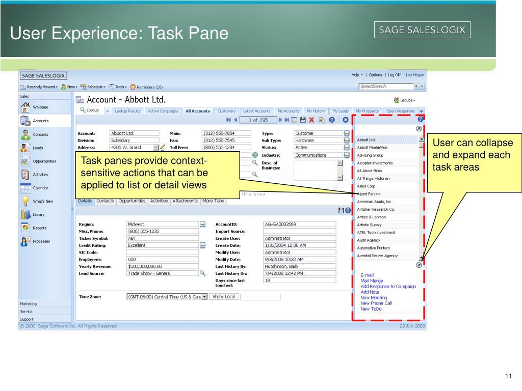 User Experience: Task Pane