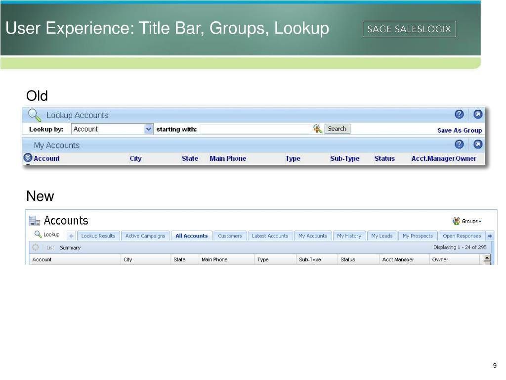 User Experience: Title Bar, Groups, Lookup