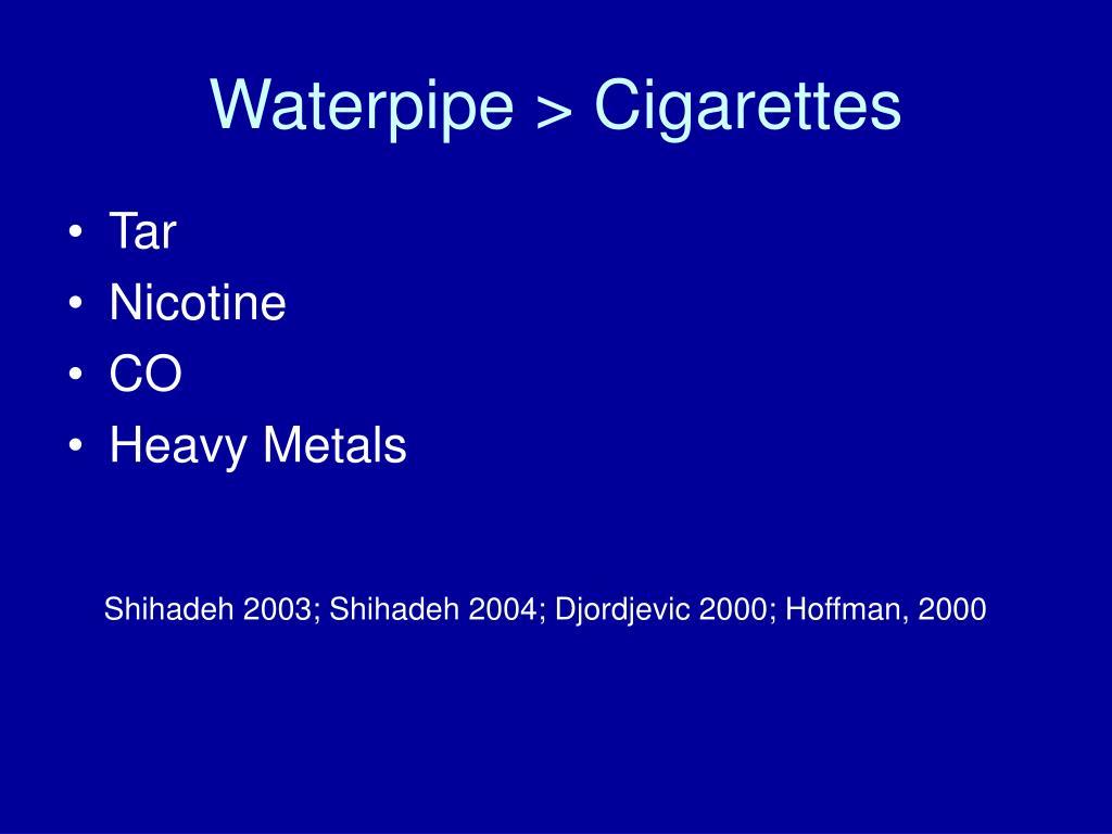 Waterpipe > Cigarettes