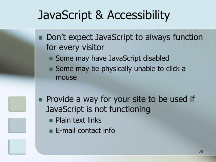 JavaScript & Accessibility