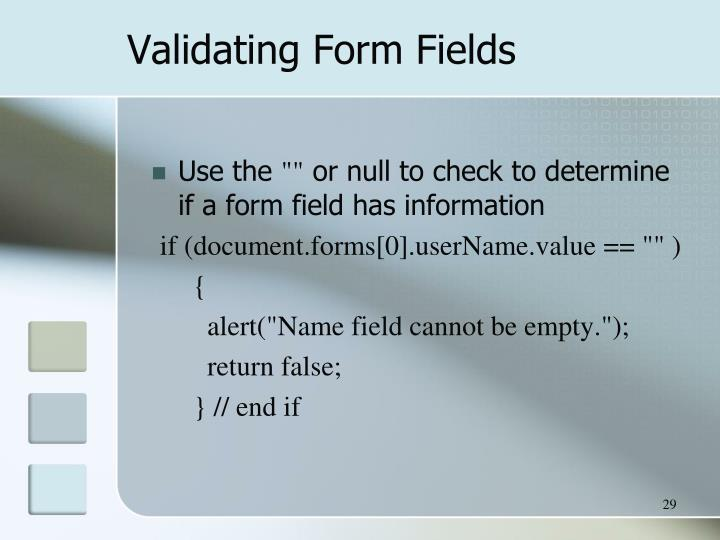 Validating Form Fields