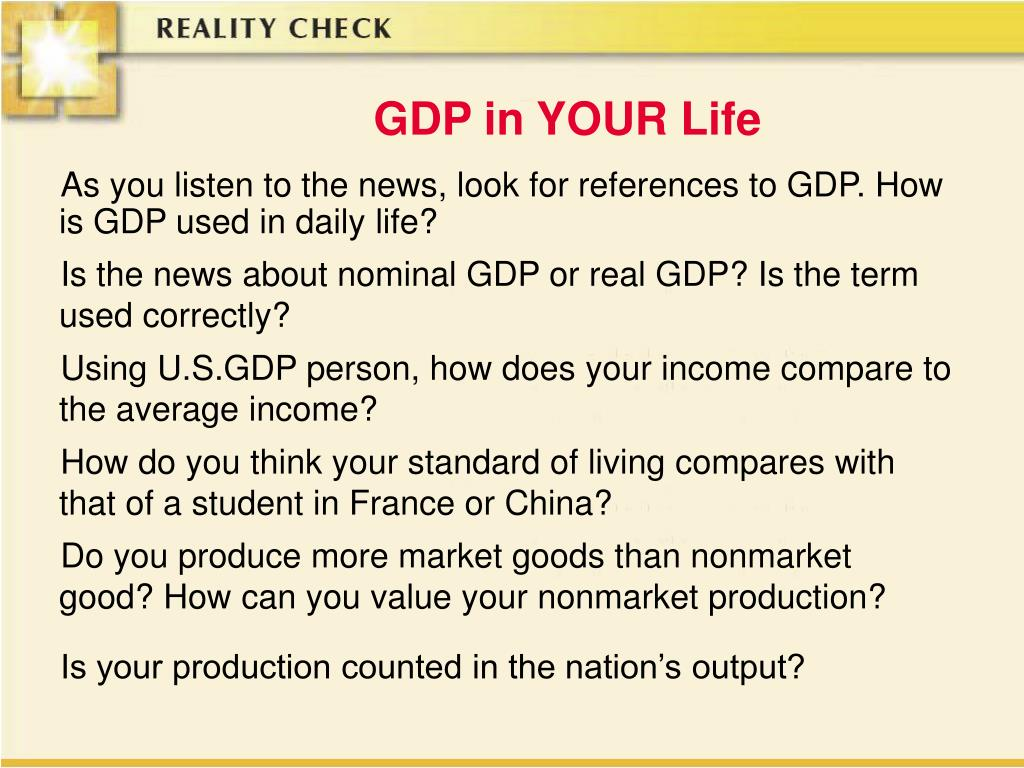 GDP in YOUR Life