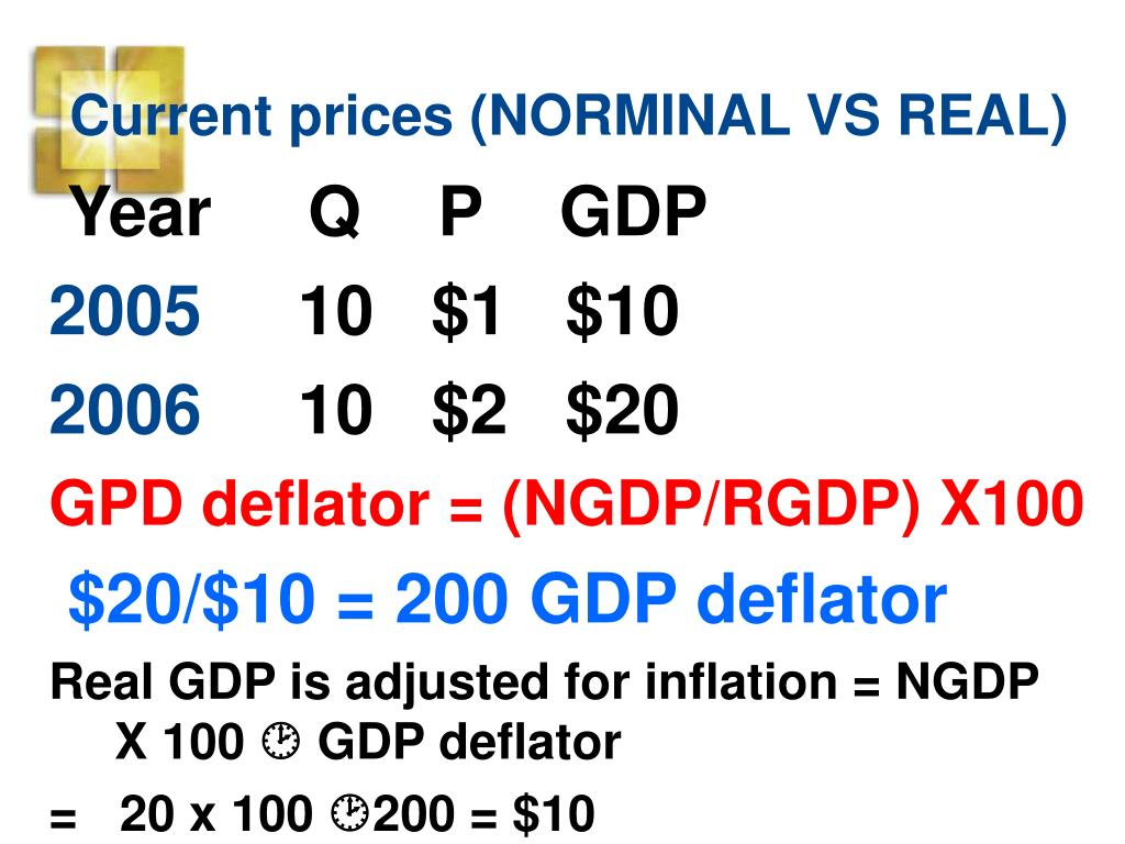 Current prices (NORMINAL VS REAL)