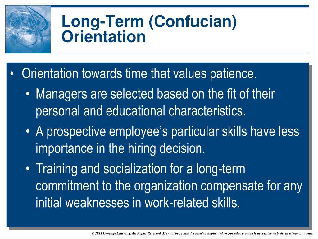 Short term orientation