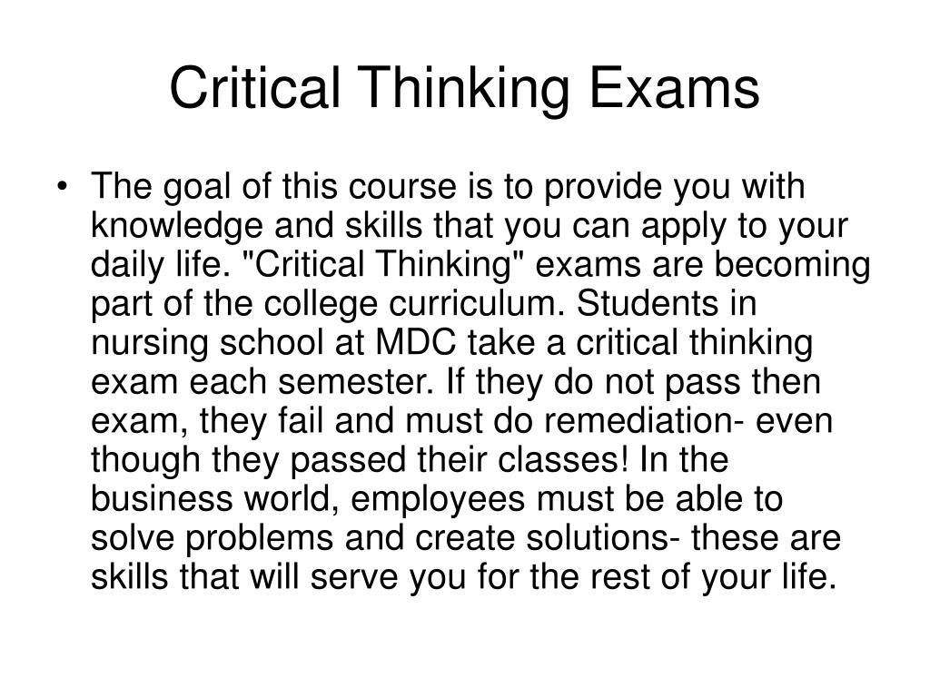 Critical Thinking Exams