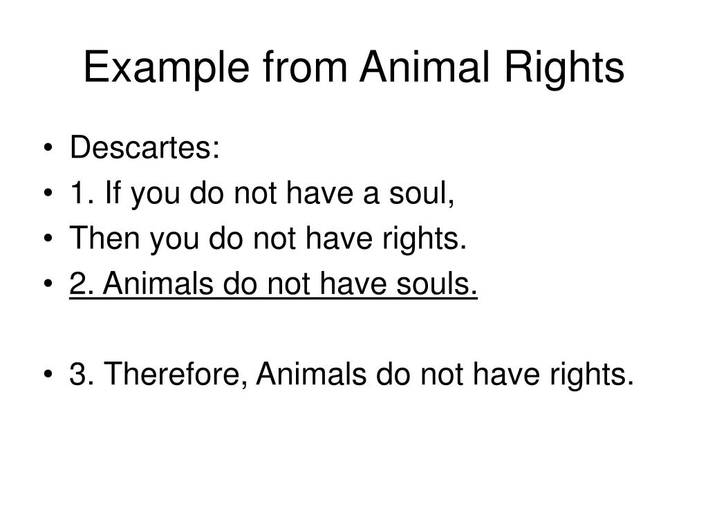 Example from Animal Rights
