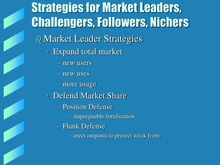 Strategies for market leaders challengers followers nichers l.jpg