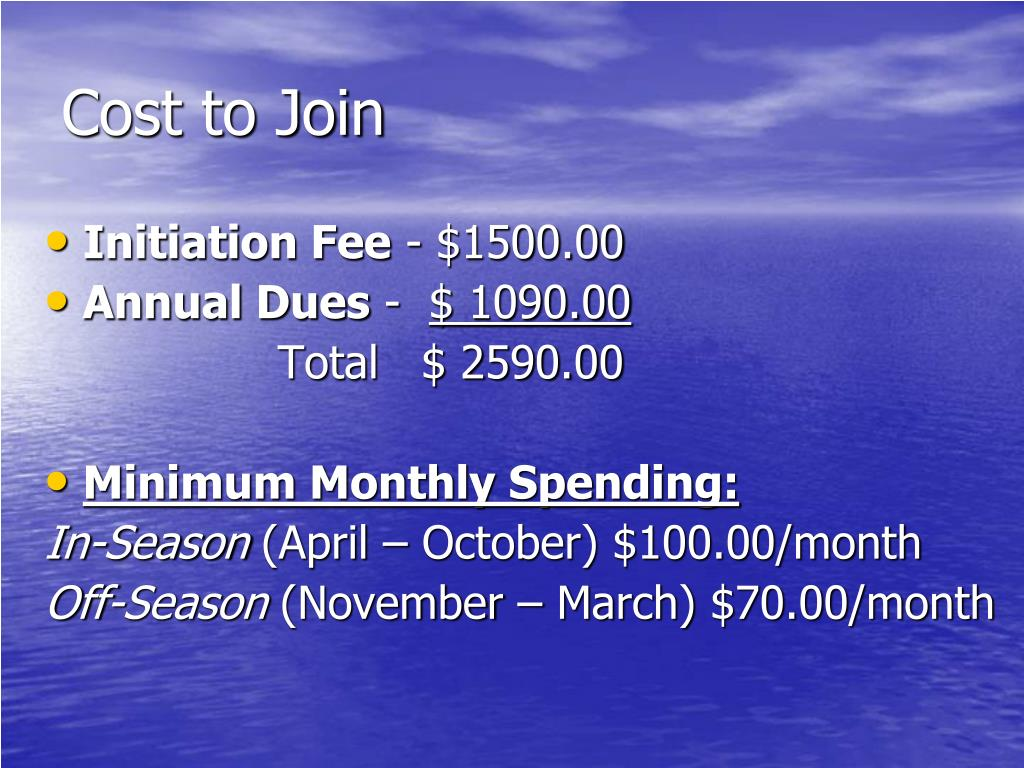 Cost to Join