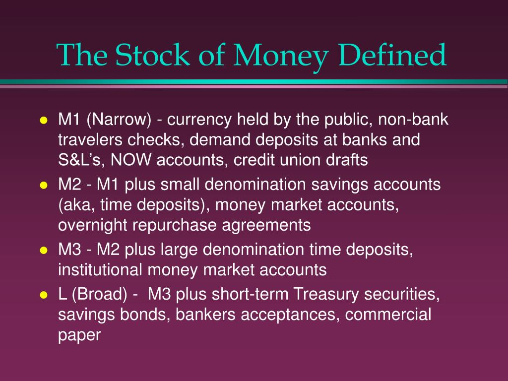The Stock of Money Defined