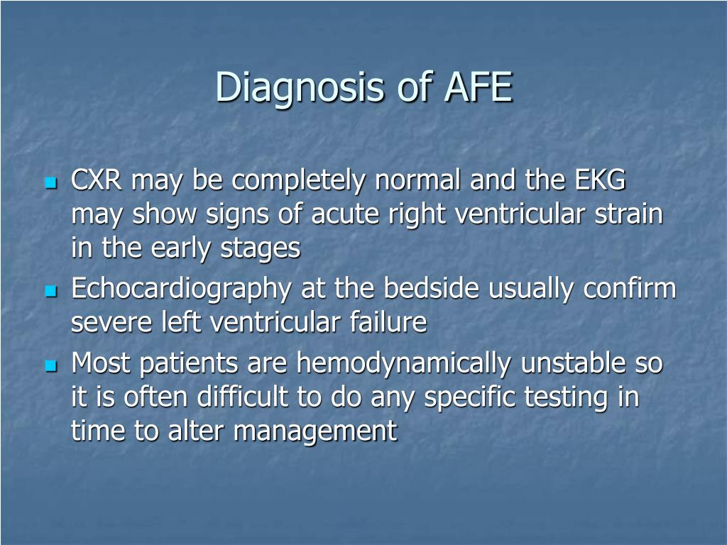 Diagnosis of AFE