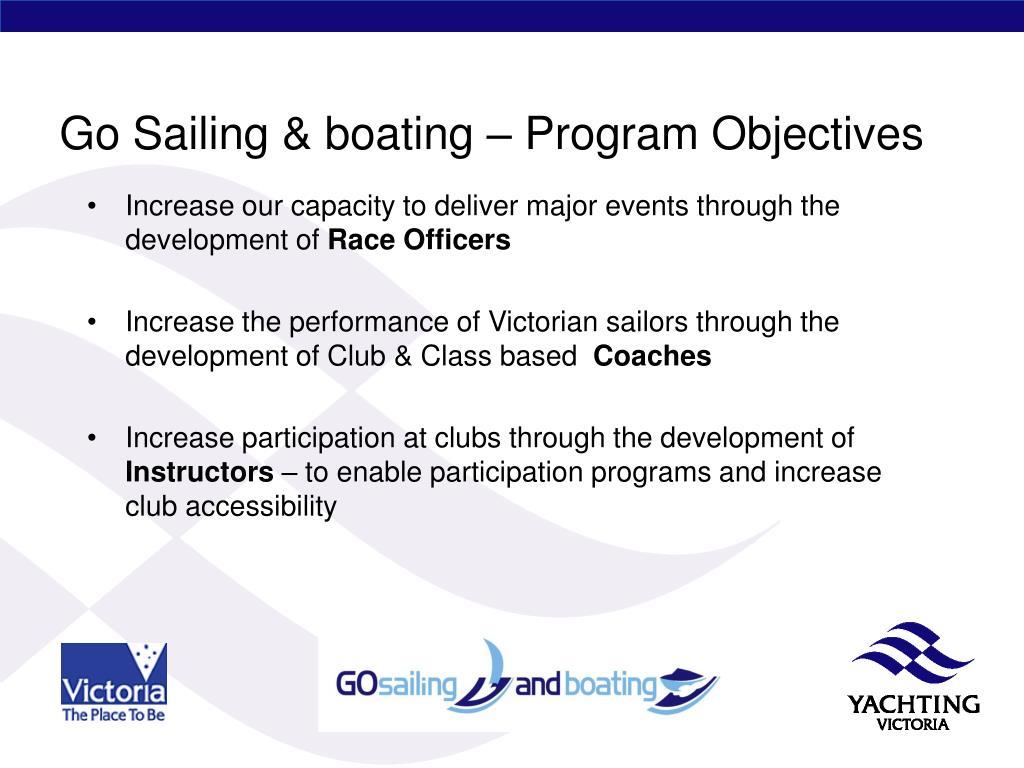 Go Sailing & boating – Program Objectives