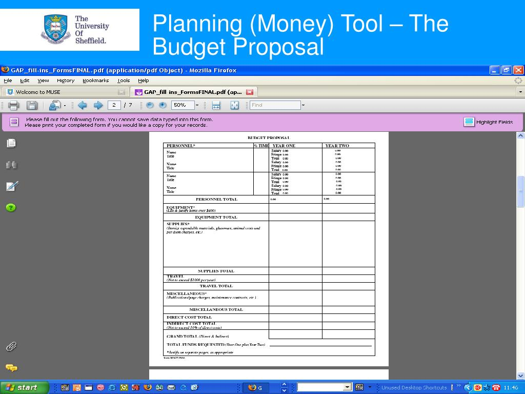 Planning (Money) Tool – The Budget Proposal