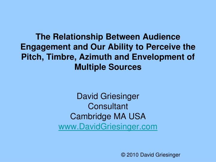 The Relationship Between Audience Engagement and Our Ability to Perceive the Pitch, Timbre, Azimuth ...