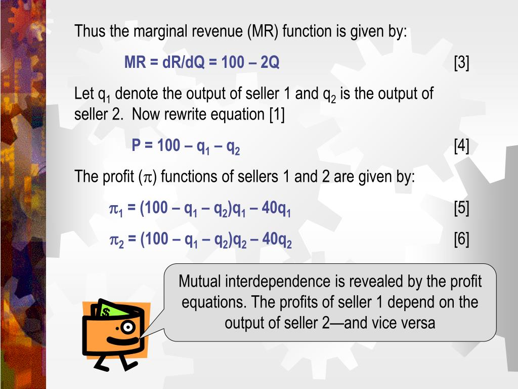 Thus the marginal revenue (MR) function is given by:
