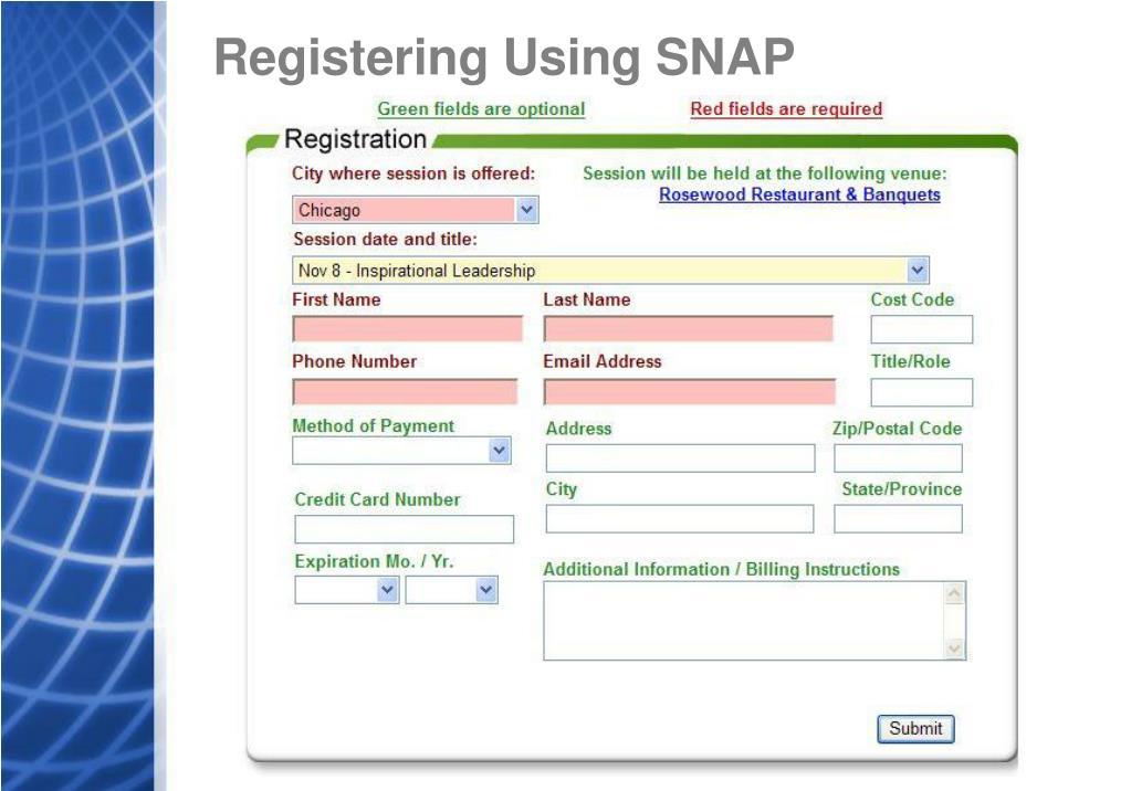 Registering Using SNAP
