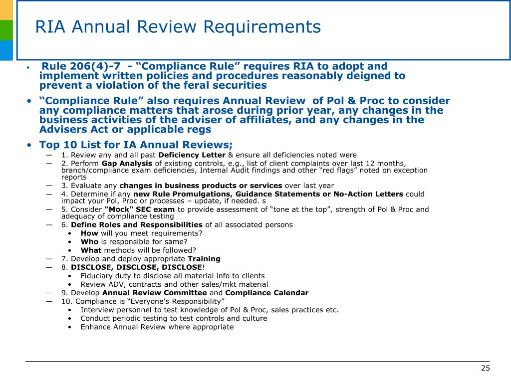 RIA Annual Review Requirements