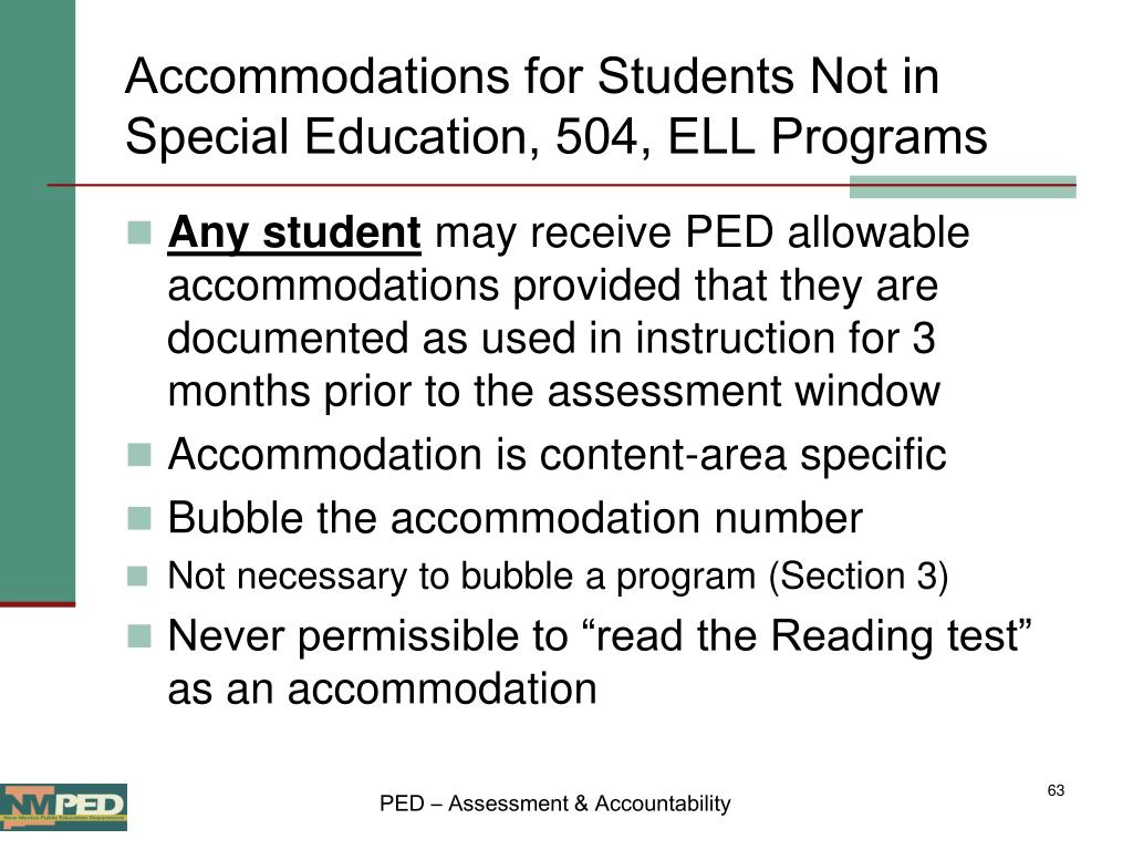 Accommodations for Students Not in Special Education, 504, ELL Programs