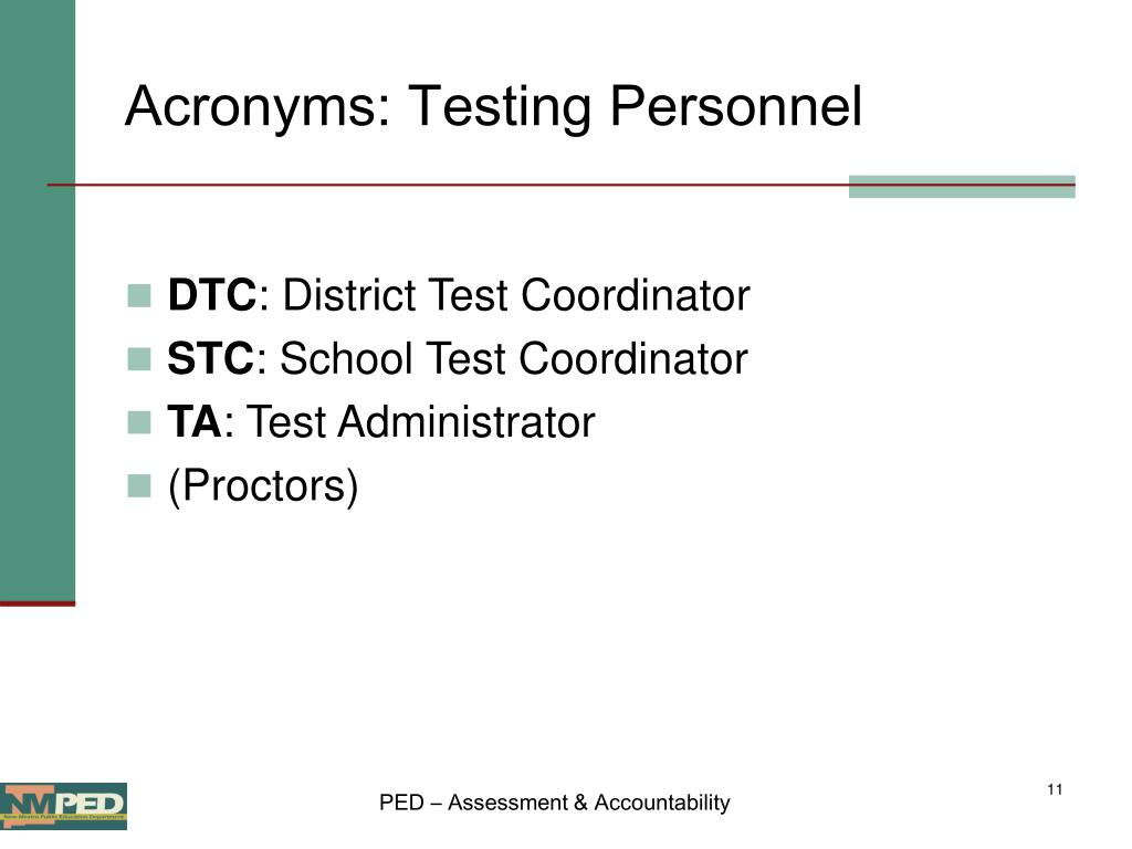 Acronyms: Testing Personnel