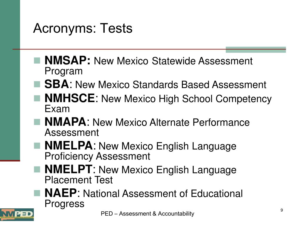 Acronyms: Tests
