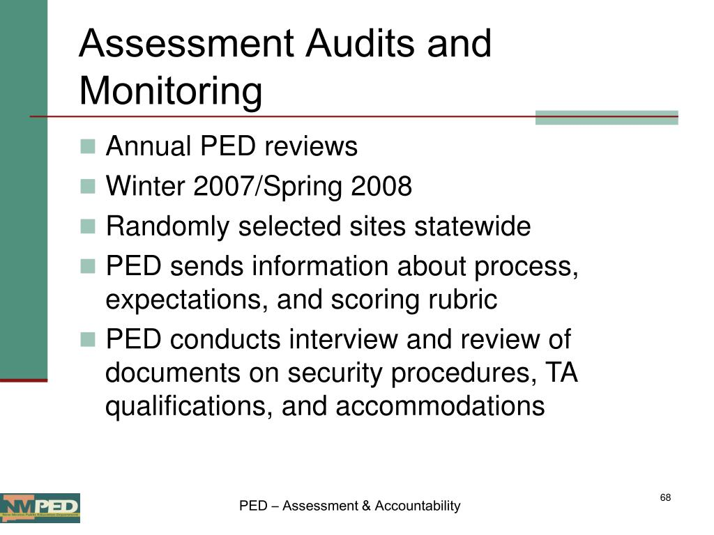 Assessment Audits and Monitoring