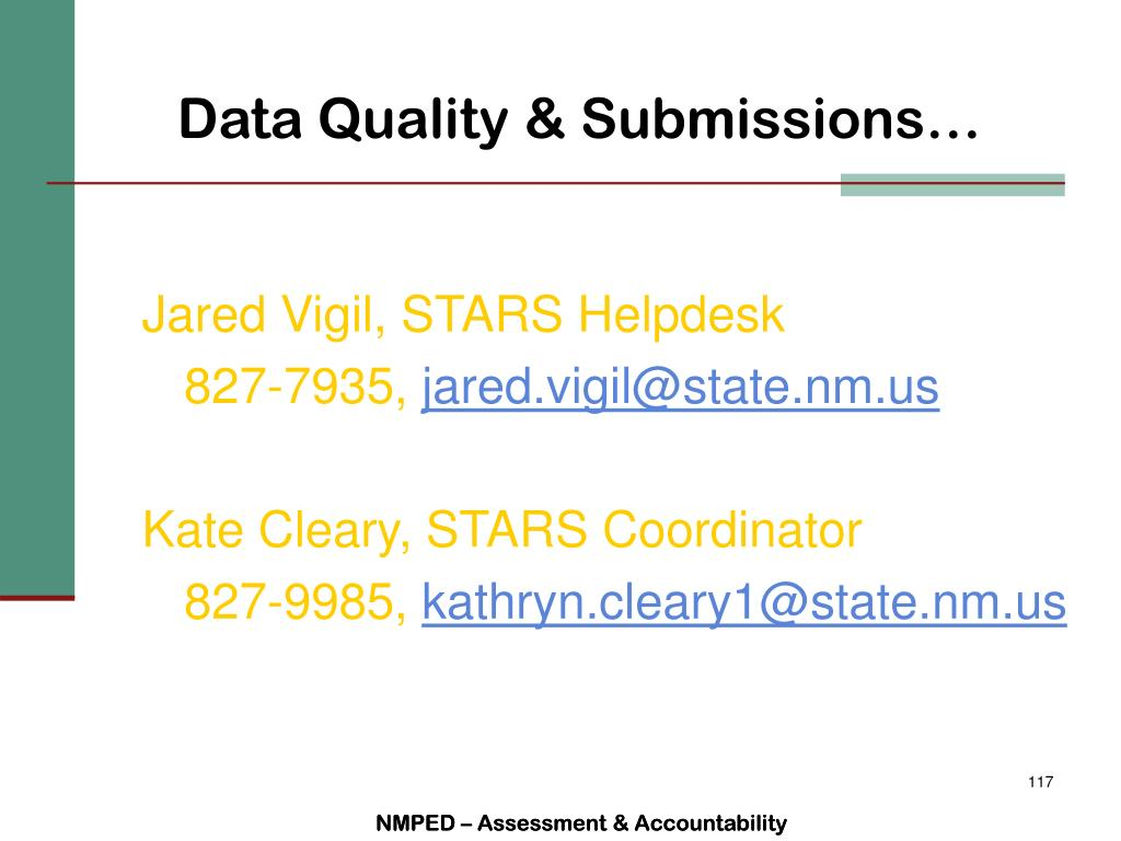 Data Quality & Submissions…