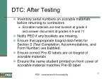 dtc after testing