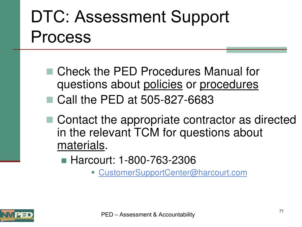 DTC: Assessment Support Process