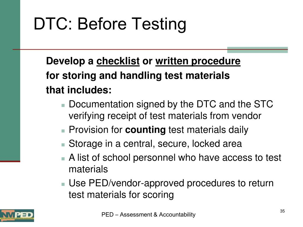 DTC: Before Testing